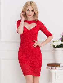 Plus Size Red Sweetheart Lace Bodycon Dress