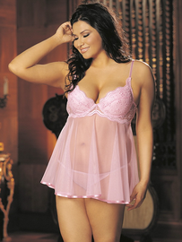 Plus Size  Scalloped Embroidery Babydoll