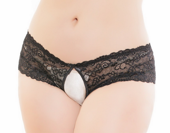 Plus Size Sexy Lace Crotchless Panty