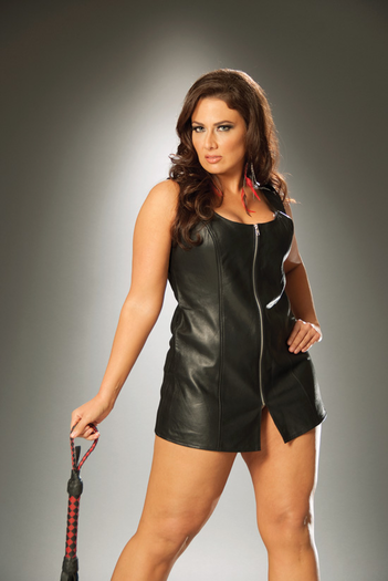 Plus Size Sexy Zip Front Mini Dress