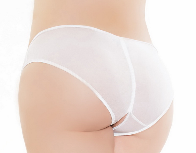 Plus Size Sheer Seduction Crotchless Panty