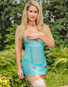 Plus Size Teal Bliss Open Cup Garter Chemise & Crotchless Thong Set
