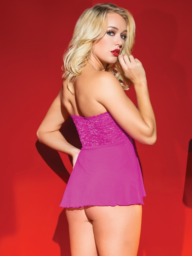 Pretty In Pink Babydoll & G-String Set