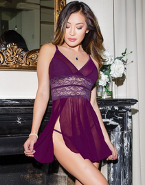 Pretty In Plum Fantasy Babydoll & Thong Set