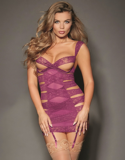 Raspberry Reveal Lace Garter Chemise & Thong Set