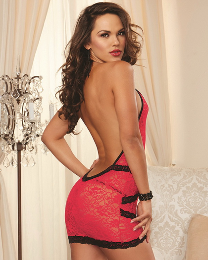 Red Diamond Bold But Beautiful Lace Chemise & G-String Set