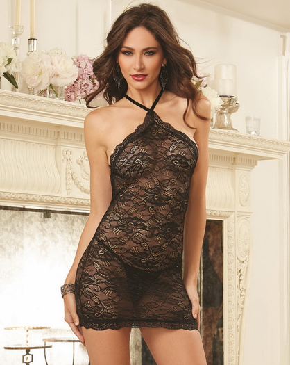 Red Diamond Forbidden Fruit Sexy Lace Chemise & G-String Set
