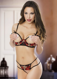 Red Diamond Lace Shelf Bra & Crotchless G-String Set