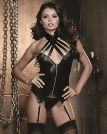 Red Diamond Sexy Master Faux Leather Bustier & G-String Set