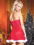 Red Holiday Hottie Babydoll, Choker, & Thong Set