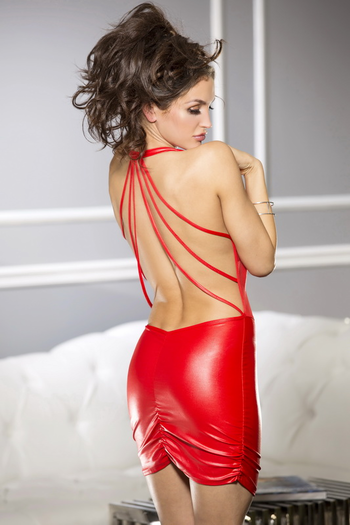 Red Hot Passionate Wet Look Mini Dress