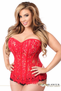 Red Lace Rhinestone Steel Boned Corset