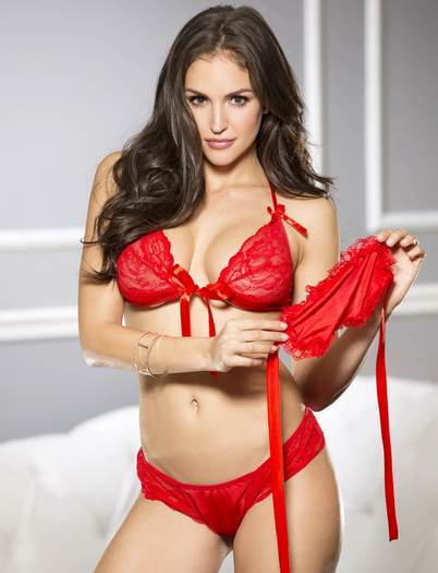 Red Rebel Lace Bra, Panty, & Eye Mask Set