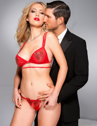 Red Sequin Bra & Panty Set