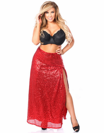 Red Sequin Long Skirt