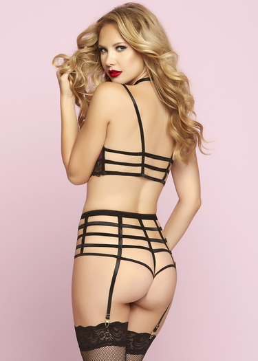 Rock Star Wine Bra & High Waist Garter Panty Set