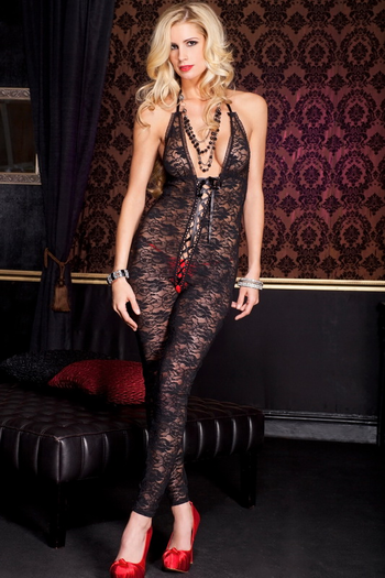Romantic Floral Lace Crotchless Bodystocking