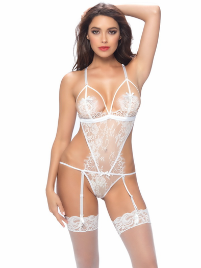 Unforgettable Eyelash Lace Gartered Teddy
