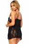 Romantic Lace Open Front Babydoll & Thong Set