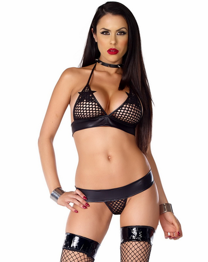 Sadist Submission Sexy Fishnet Bra & Thong Set