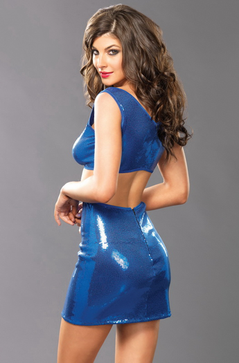 Sapphire Surrender Sexy Sequin Mini Dress