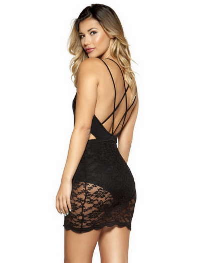 Sexy Lace Little Black Mini Dress