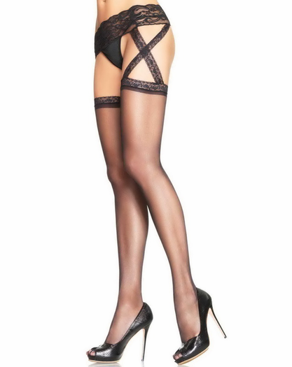 Sheer Stockings With Attached Lace Waist