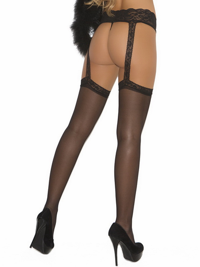 Sheer Thigh High w/Lace Garterbelt