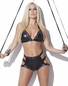 Show It Off Black Wet Look Bra & Panty Set