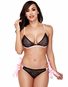 Side Tie Satin Lace Bra & Thong Set