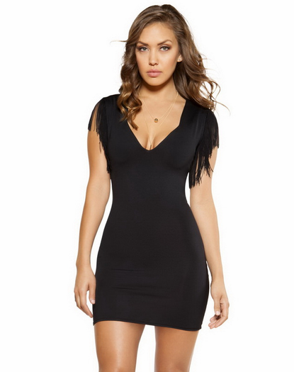 Sleeveless Sexy Fringe Bodycon Mini Dress