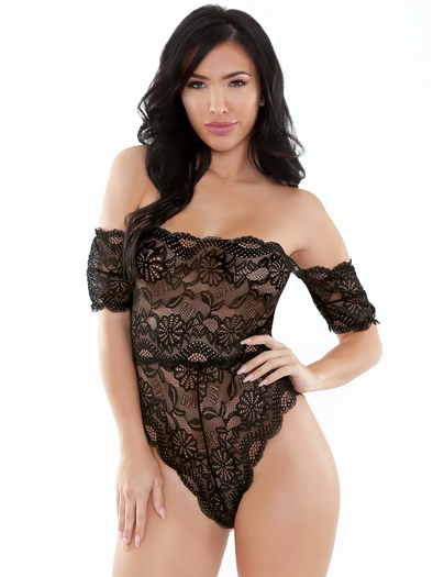 Stay the Night Off Shoulder Lace Teddy