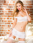 Stretch Lace Bra, Skirtini, & Stockings Set