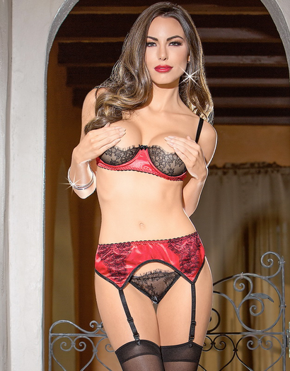 Submissive Love Open Cup Bra & Garter Set