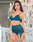 Tantalize You Teal Bra, Garterbelt, & Stockings Set