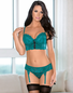 Terrific Teal Sexy Lace Bra, Garterbelt, Thong & Stockings Set
