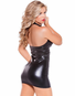 Too Good Faux Leather Halter Mini Dress