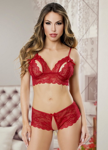 True Love Lace Bra & Crotchless Panty Set
