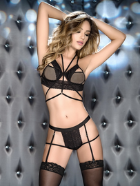 Unforgettable Strappy Bra & Garter Panty Set