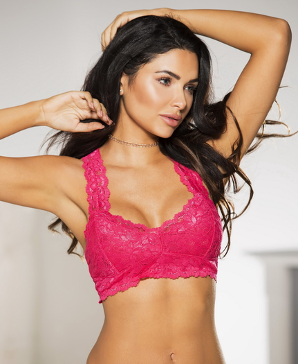 Washed Red Lace Bralette Top