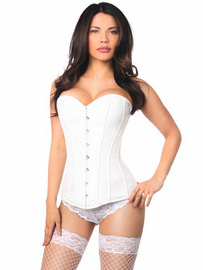 White Brocade Bridal Steel Boned Corset