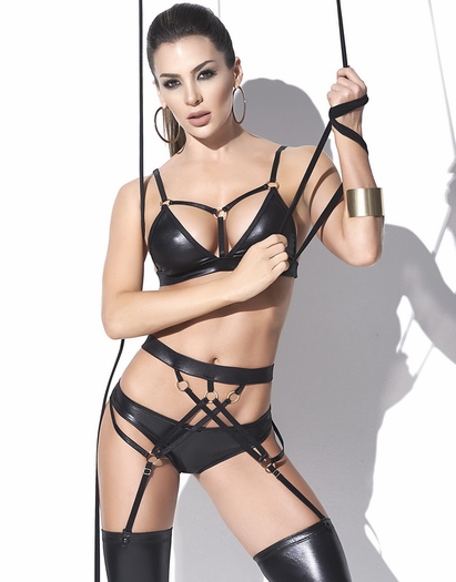 Wild Ride Wet Look Bra & Garter Panty Set