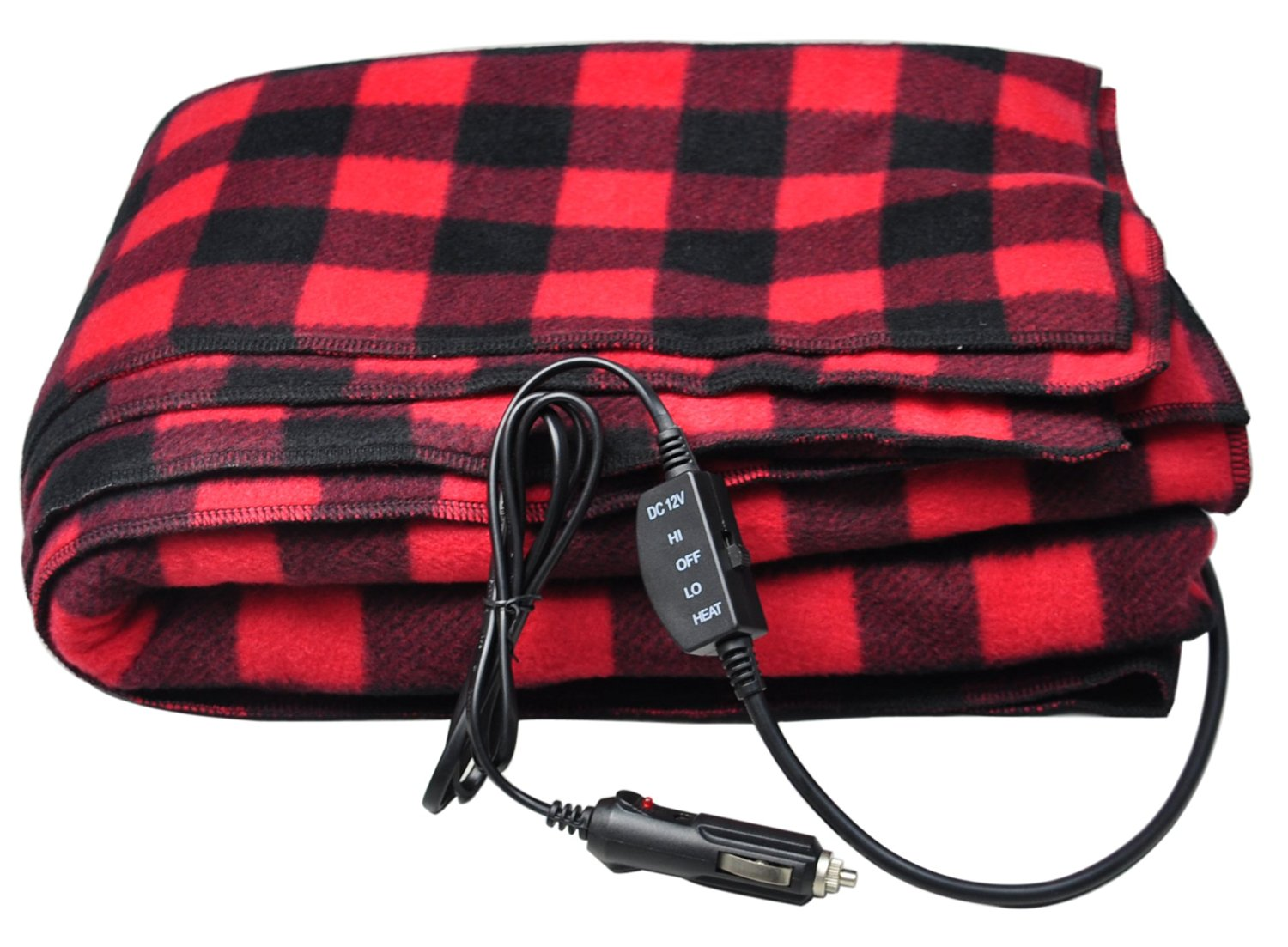 Car Blanket: 12-Volt Red Plaid Heated Electric Blanket For Car, Truck