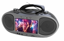 "Portable CD/DVD Player Boombox with 7"" Widescreen LCD, AM/FM Radio, bluetooth, & MP3/WMA/MPEG4 Playback"