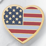 Heart Shaped American Flag Pins - Click to enlarge