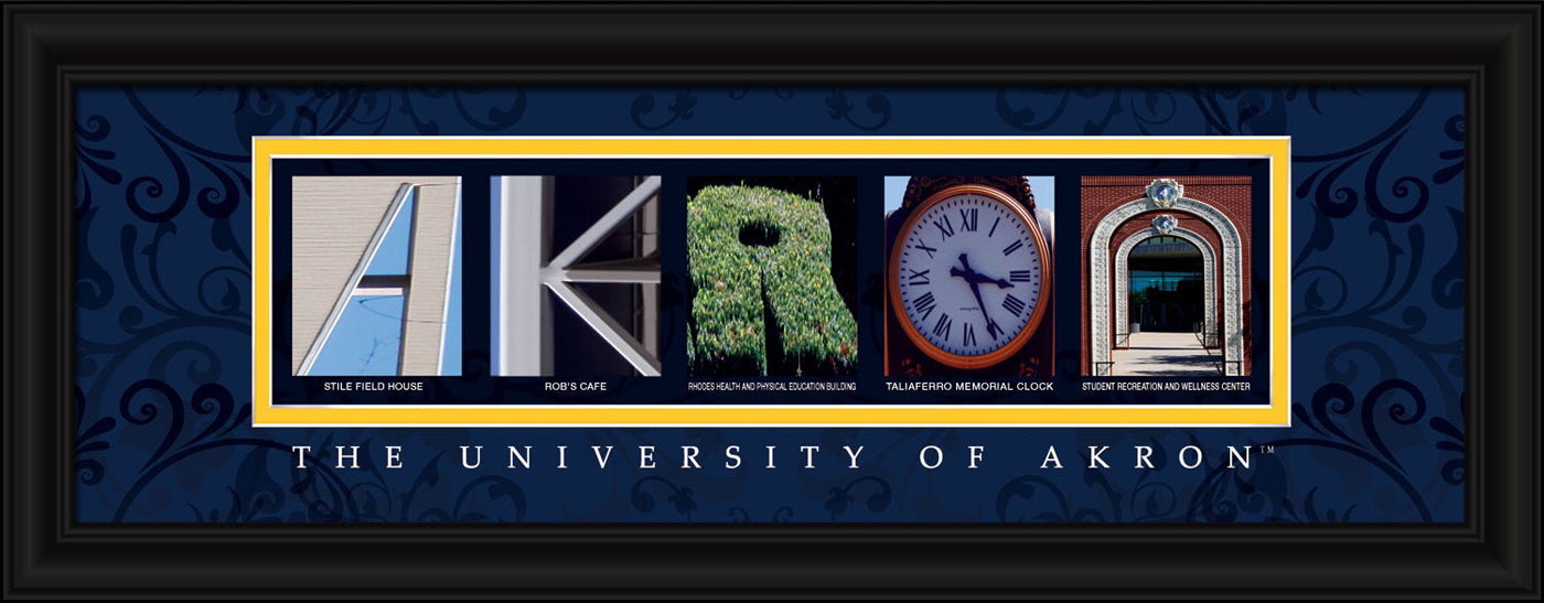 Akron zips campus letter art for Campus letter art