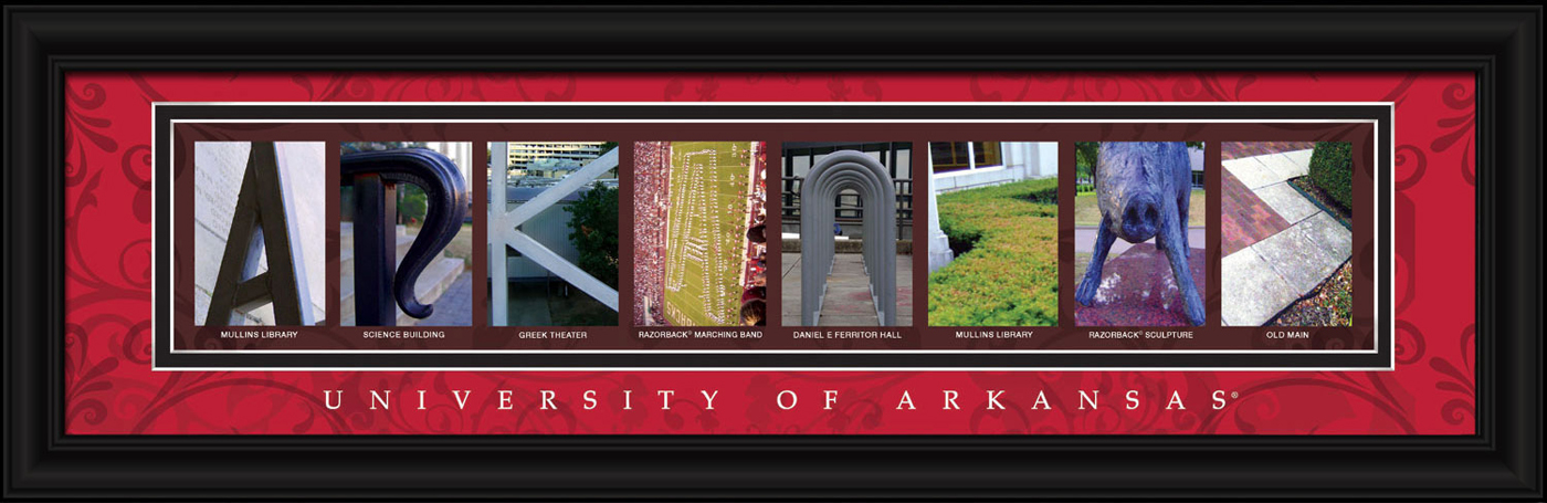 Arkansas razorbacks campus letter art for Campus letter art