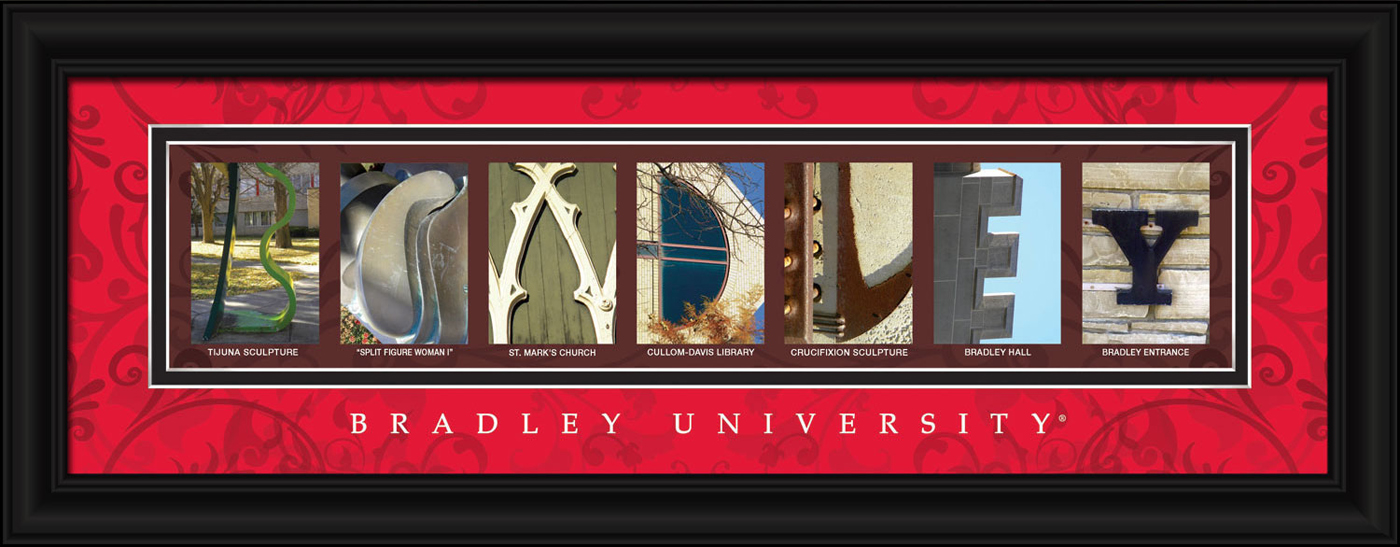 Bradley braves campus letter art for Campus letter art