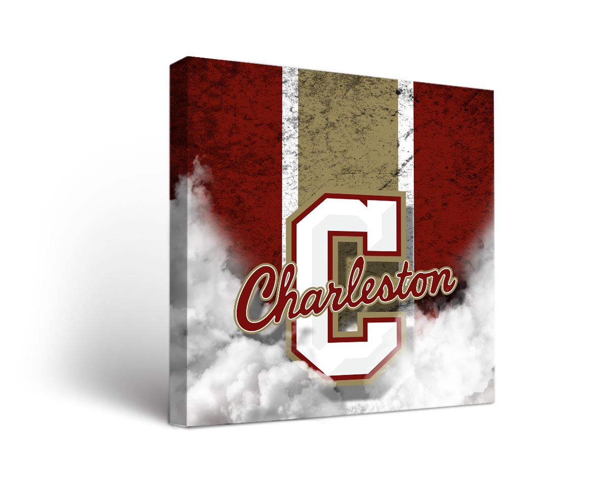 Charleston cougars vintage canvas wall art for Vintage basketball wall art