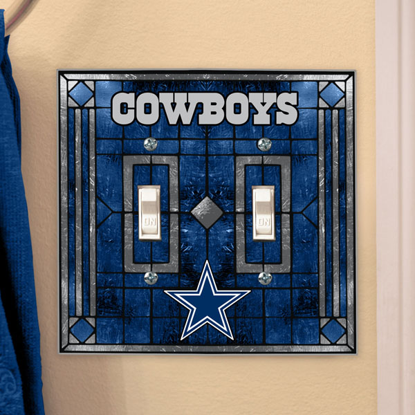 Dallas Cowboys Glass Double Switch Plate Cover